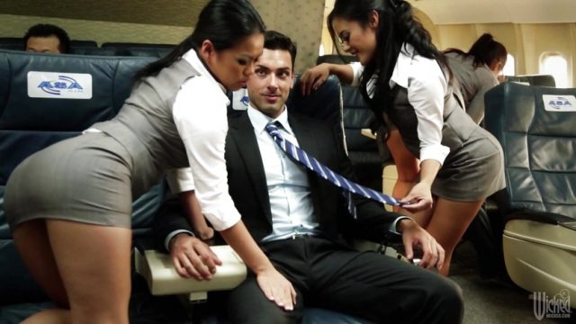 Asa Akira and her hostess pals fuck on flight
