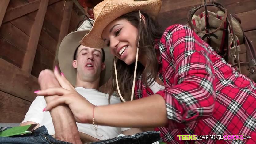 Cowgirl Gabriella Ford stuffed by a big dick