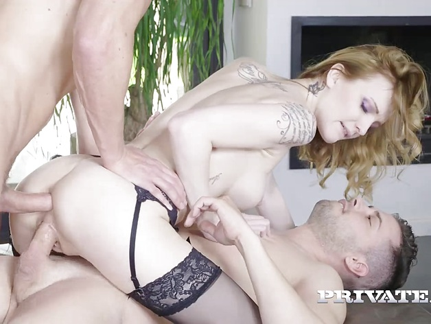 Cute Belle Claire Dons Lingerie For DP Threeway