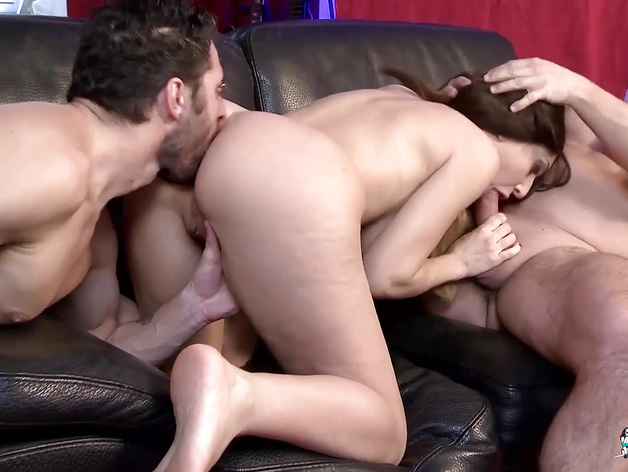 Sexy Busty French babe fucked in MMF threeway