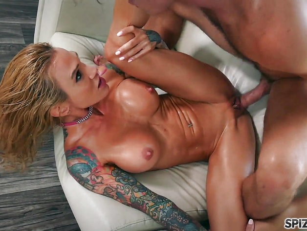 Slippery Sarah Jessie oil up and get fucked by a big dick