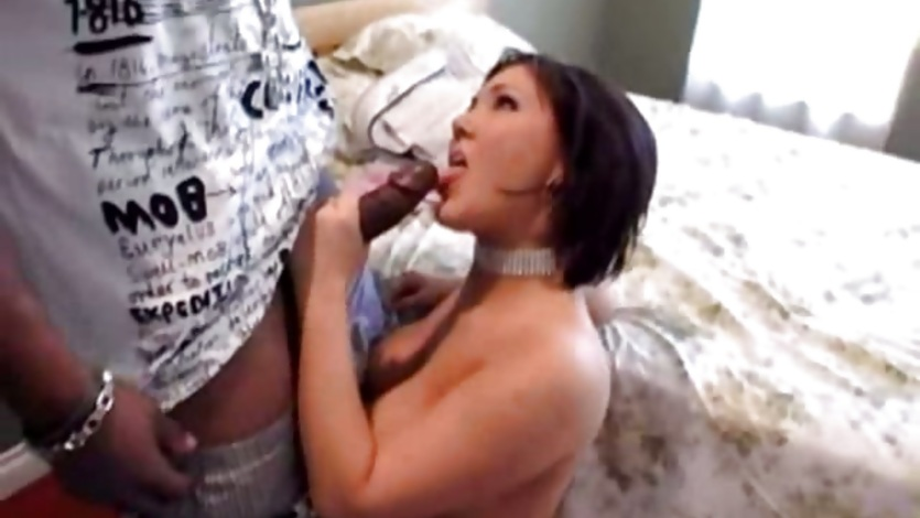 Claire Dames sucking hard on a long black cock and loving it all