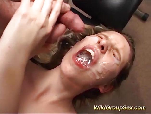 Her first anal gangbang bukkake