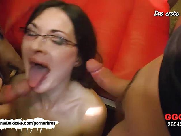Check out this slut getting drenched in warm jizz!