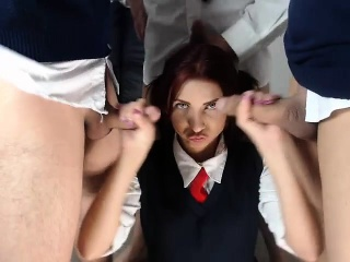 Redhead amateur girl cunt smashed for money in group sex