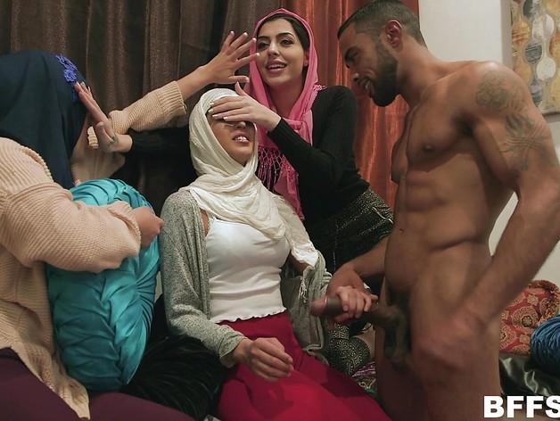 Frisky arab beauties fucked by male stripper